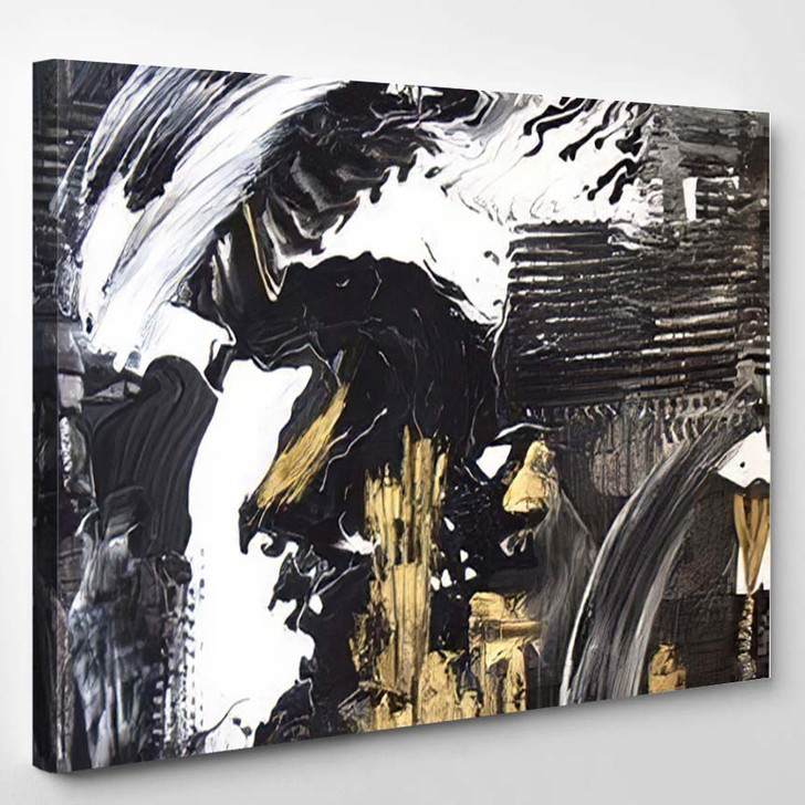 Abstract Hand Painted Black White Gold - Paintings Canvas Art Print
