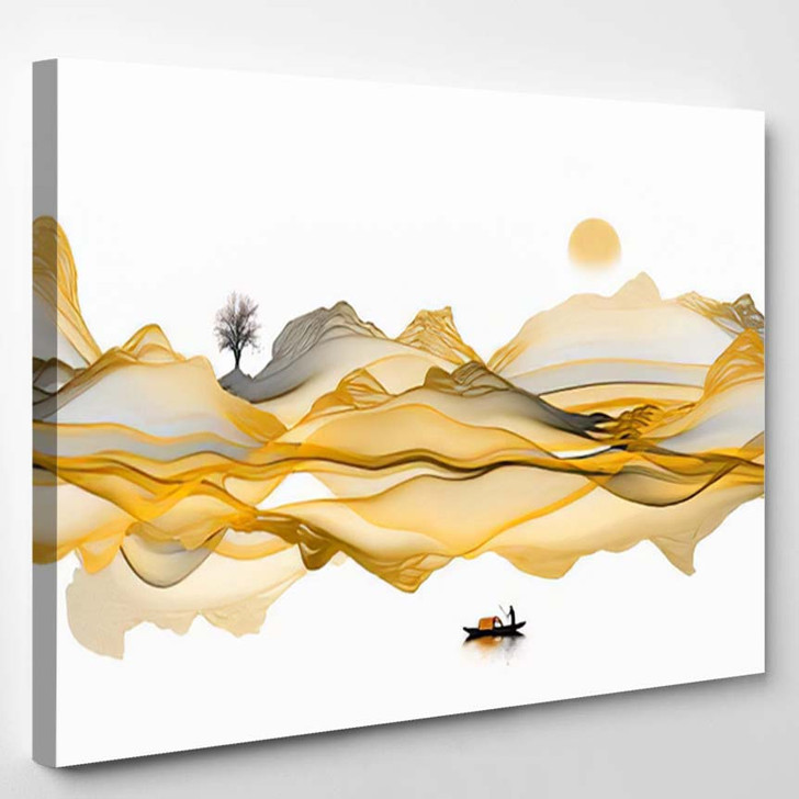 Abstract Ink Painting Background Line Art - Paintings Canvas Art Print