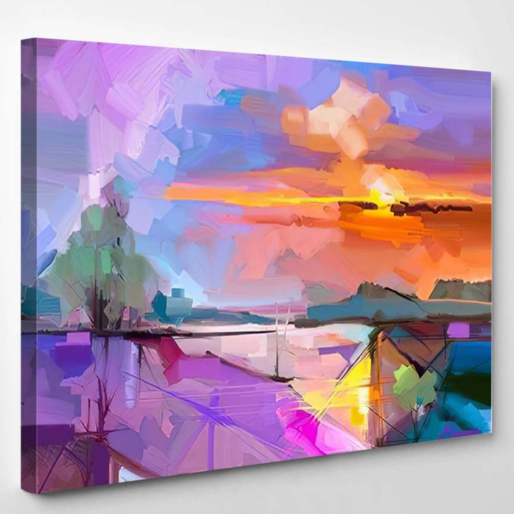 Abstract Oil Painting Landscape Background Artwork - Paintings Canvas Art Print