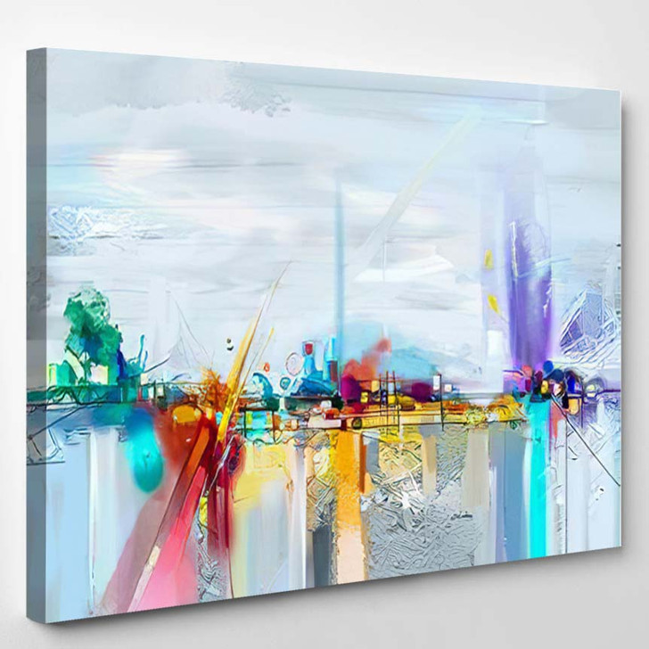 Abstract Oil Painting Landscape Colorful Blue - Paintings Canvas Art Print