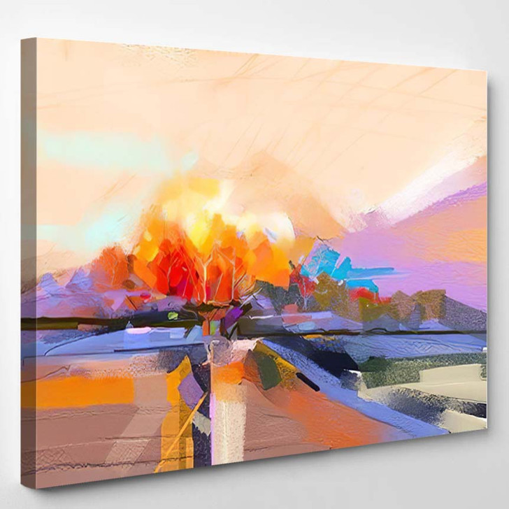 Abstract Oil Painting Landscape Colorful Blue 1 - Paintings Canvas Art Print