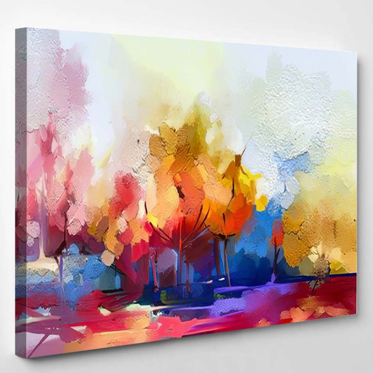 Abstract Oil Painting Landscape Colorful Blue 2 - Paintings Canvas Art Print