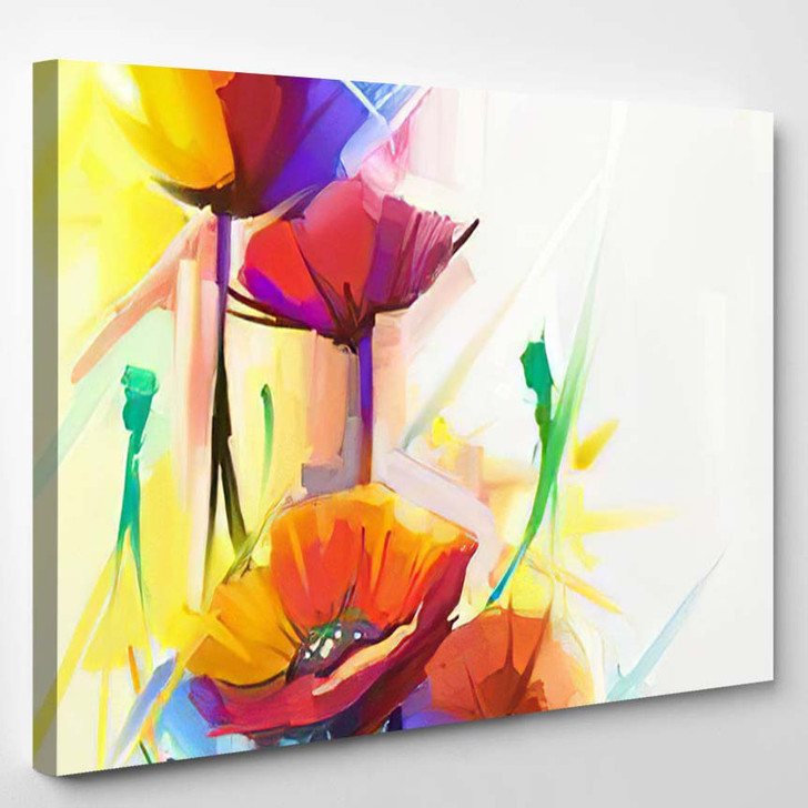 Abstract Oil Painting Spring Flower Still - Paintings Canvas Art Print