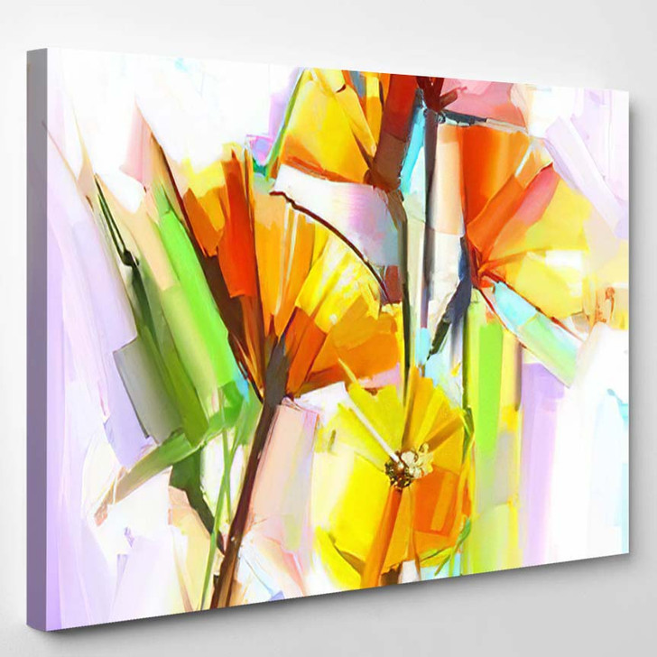 Abstract Oil Painting Spring Flowers Still - Paintings Canvas Art Print