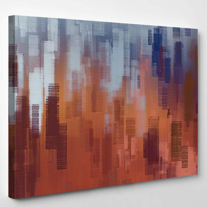 Abstract Painting Backdrop On Concrete Wall - Paintings Canvas Art Print