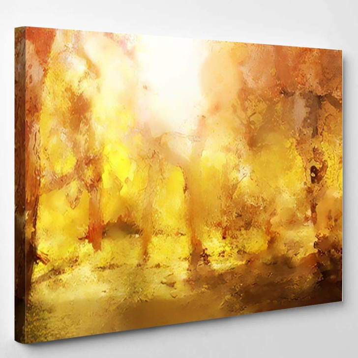 Abstract Painting Colorful Forest Yellow Leaves - Paintings Canvas Art Print