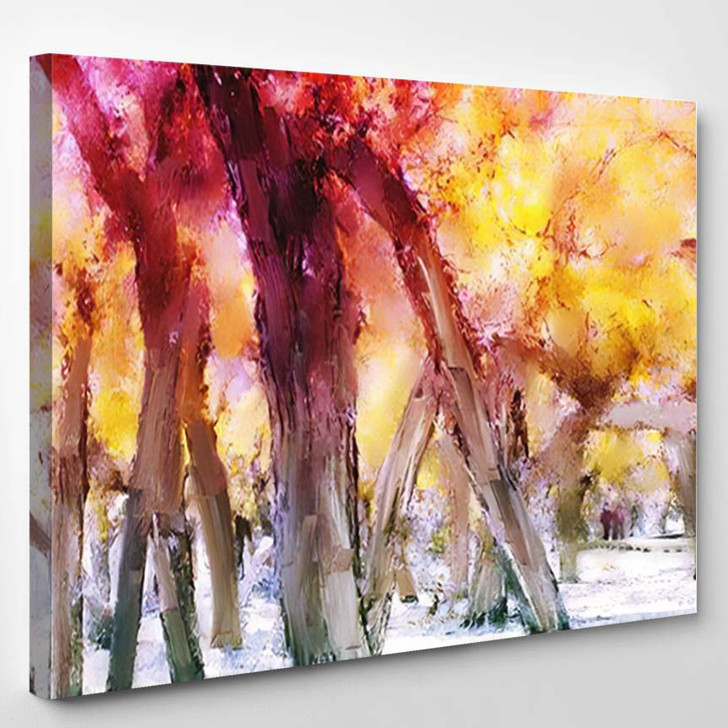Abstract Painting Colorful Forest Yellow Leaves 1 - Paintings Canvas Art Print