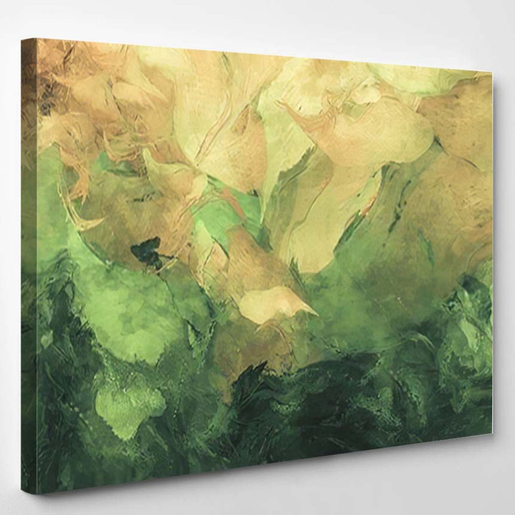 Abstract Painting Green Yellow Colors - Paintings Canvas Art Print