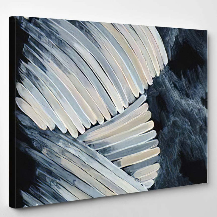 Abstract Painting Lightly Colored Curved Strokes - Paintings Canvas Art Print