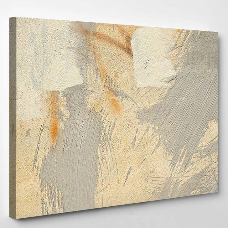Abstract Painting Wall Yellow Gray Backdrop 1 - Paintings Canvas Art Print