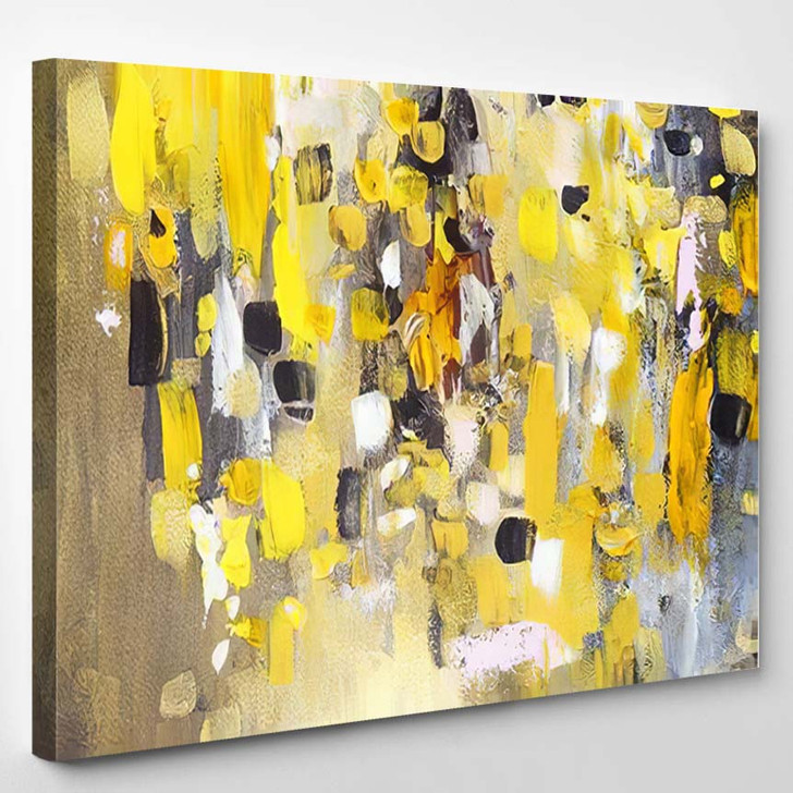 Abstract Painting Yellow Colors Hand Painted 1 - Paintings Canvas Art Print