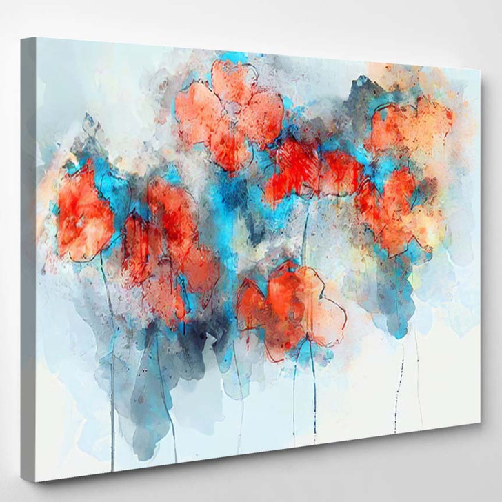 Abstract Red Poppy Flowers On Splashed - Paintings Canvas Art Print