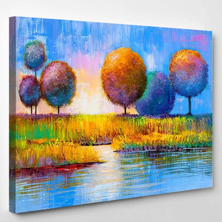 Abstract Trees On River Bank Original - Paintings Canvas Art Print