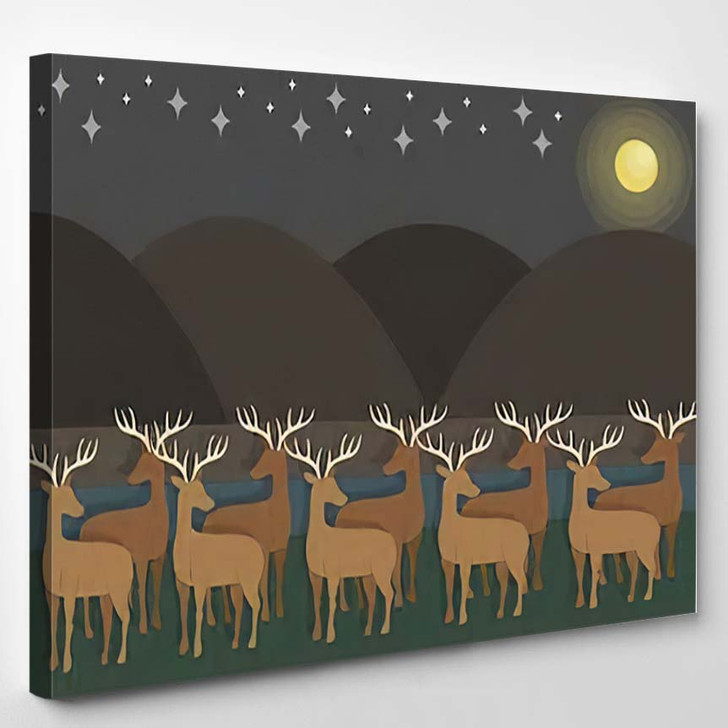 2D Minimal Paperlike Shaded Shadowed Graphics - Starry Night Sky and Space Canvas Art Print