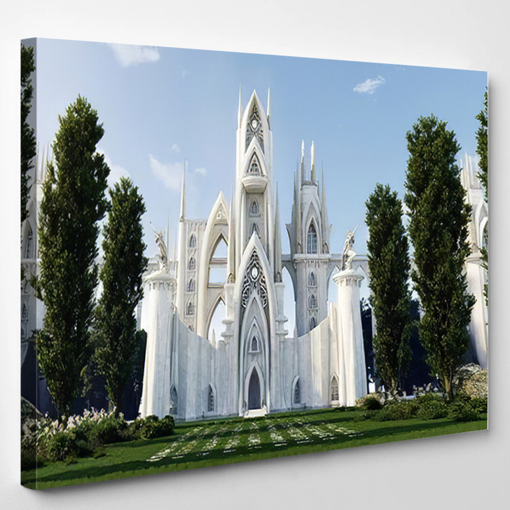Medieval Fantasy Castlecathedral Hidden Forest Front - Buddha Religion Canvas Art Print
