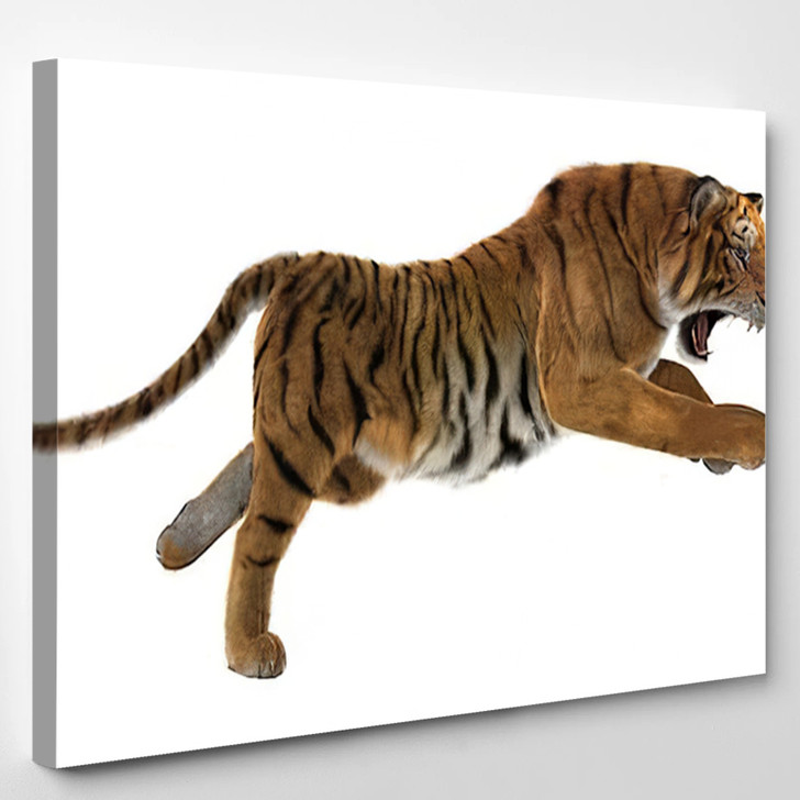 3D Digital Render Hunting Big Cat - White Tiger Animals Canvas Art Print