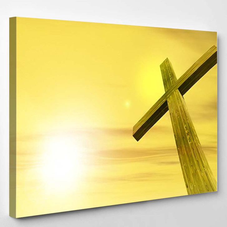 3D Illustration Conceptual Wood Cross Religion - Christian Canvas Art Print