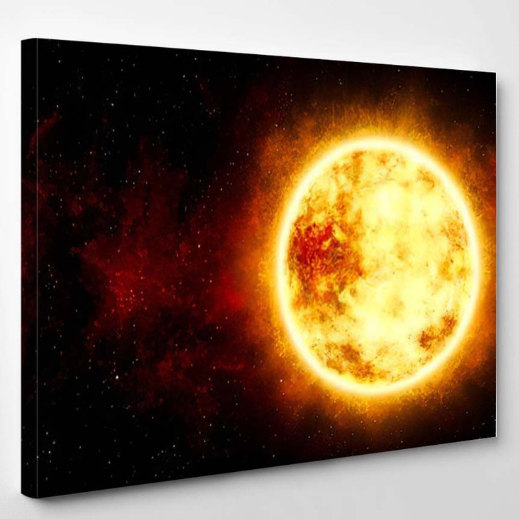 3D Illustration Sun Star Cosmic Cloud - Sky and Space Canvas Art Print