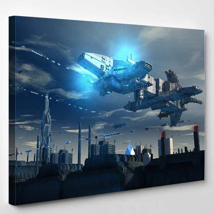 3D Render Futuristic Spaceship Ufo - Sky and Space Canvas Art Print