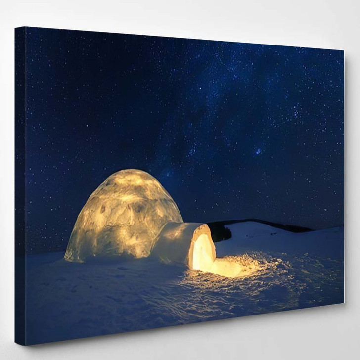 Fantastic Winter Landscape Glowing By Star 2 - Christmas Canvas Art Print