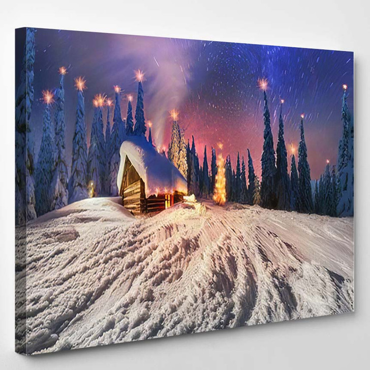 High Mountains Among Wild Forest Huts 1 - Christmas Canvas Art Print