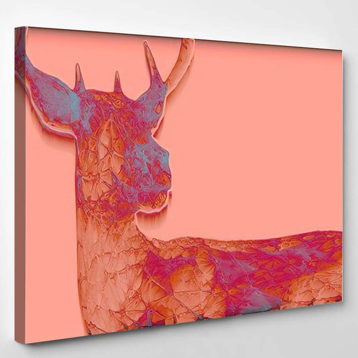 3D Render Abstract Illustration Deer Unusual - Deer Animals Canvas Art Print