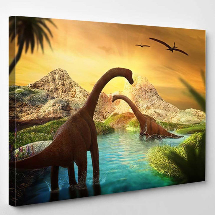 3D Fantasy Landscape Dinosaur Rendered Mountains - Dinosaur Animals Canvas Art Print