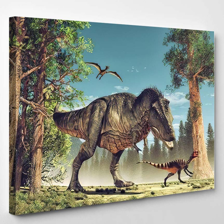 3D Render Dinosaur This Illustration 1 - Dinosaur Animals Canvas Art Print