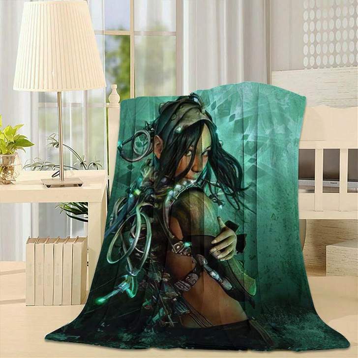 3D Computer Graphics Lady Fantasy Clothing - Fantasy Throw Blanket