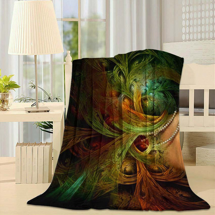 3D Computer Graphics Portrait Lady Abstract - Fantasy Throw Blanket