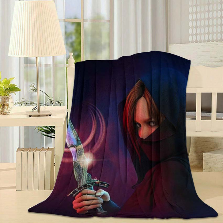 3D Computer Graphics Wrapped Female Assassin - Fantasy Throw Blanket