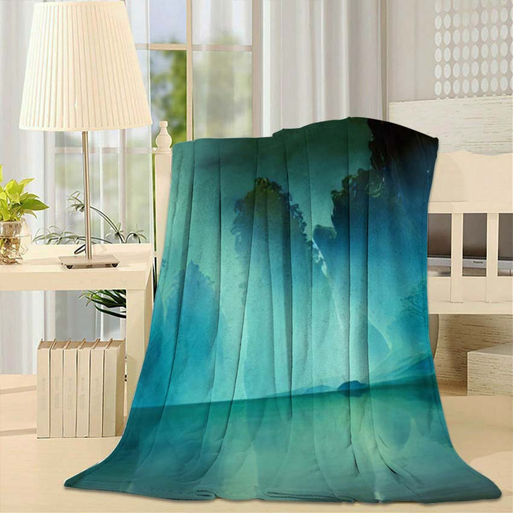 3D Illustration Landscape Various Rocky Formations - Fantasy Throw Blanket