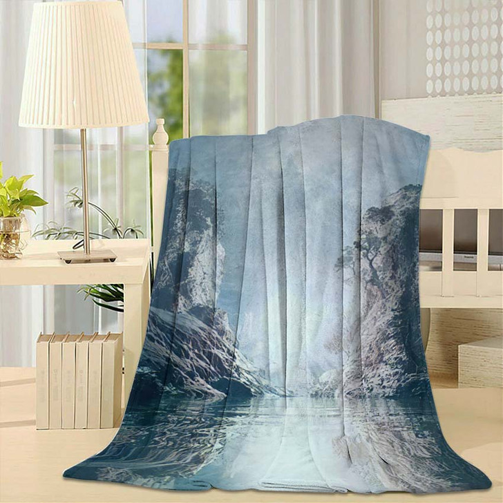 3D Landscape Illustration Where Observed Two - Fantasy Throw Blanket