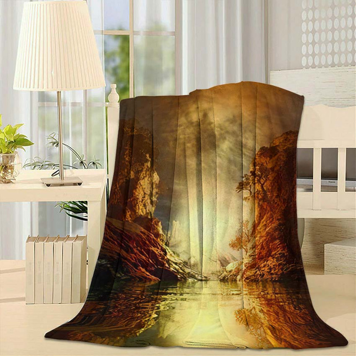 3D Landscape Illustration Where Observed Two 1 - Fantasy Throw Blanket
