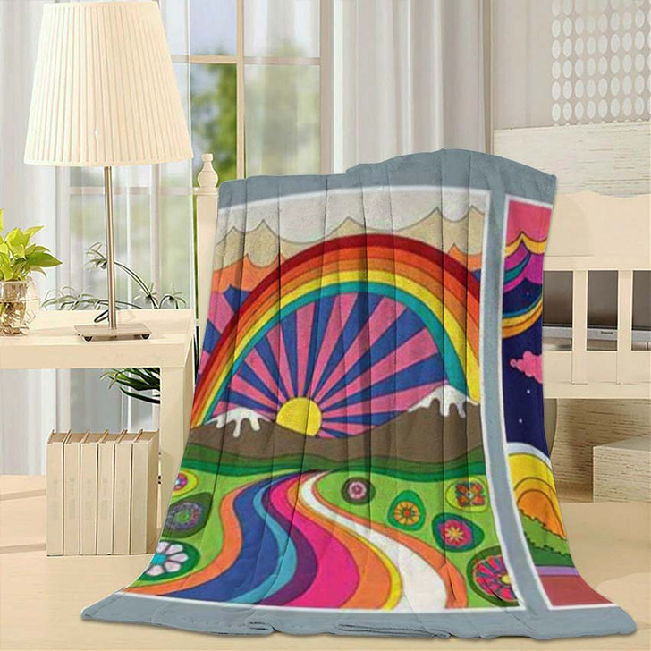 1960S 1970S Art Style Colorful Psychedelic - Psychedelic Throw Blanket