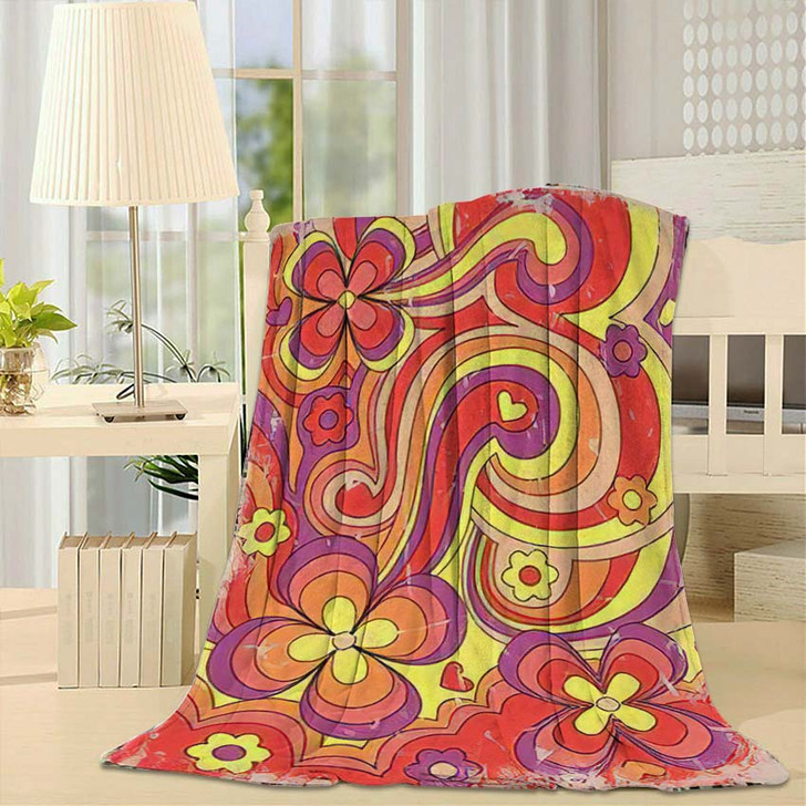 1960S 1970S Hippie Style Psychedelic Art - Psychedelic Throw Blanket
