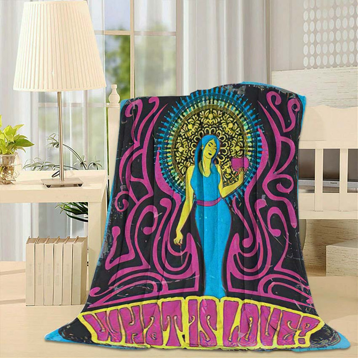1970S Style Psychedelic Art Woman Heart - Psychedelic Throw Blanket