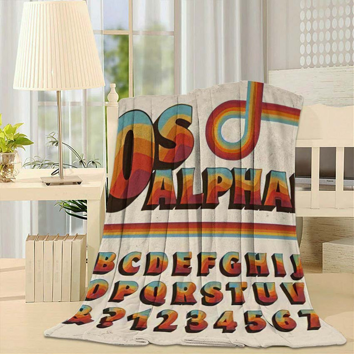1970Sstyle Alphabet Rainbow Stripe Embellishments - Psychedelic Throw Blanket
