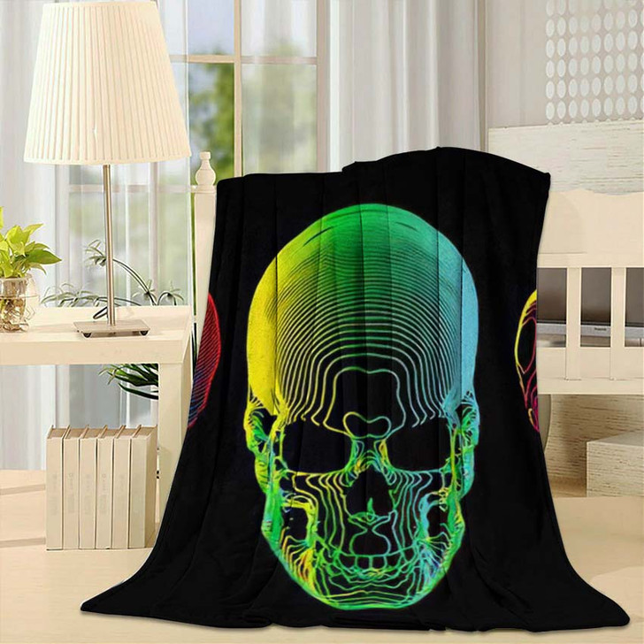 3 Psychedelic Gradient Colorful Line Skull - Psychedelic Throw Blanket