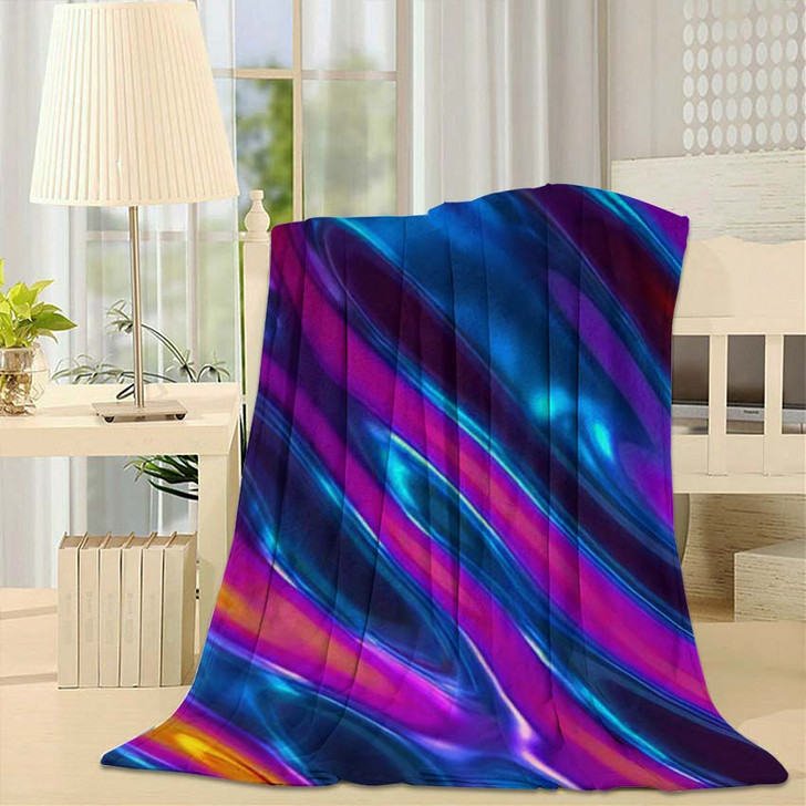 3D Render Abstract Background Iridescent Holographic - Psychedelic Throw Blanket