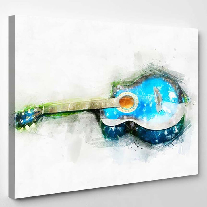 Abstract Beautiful Guitar Acoustic Foreground On 1 - Drum Music Canvas Art Print