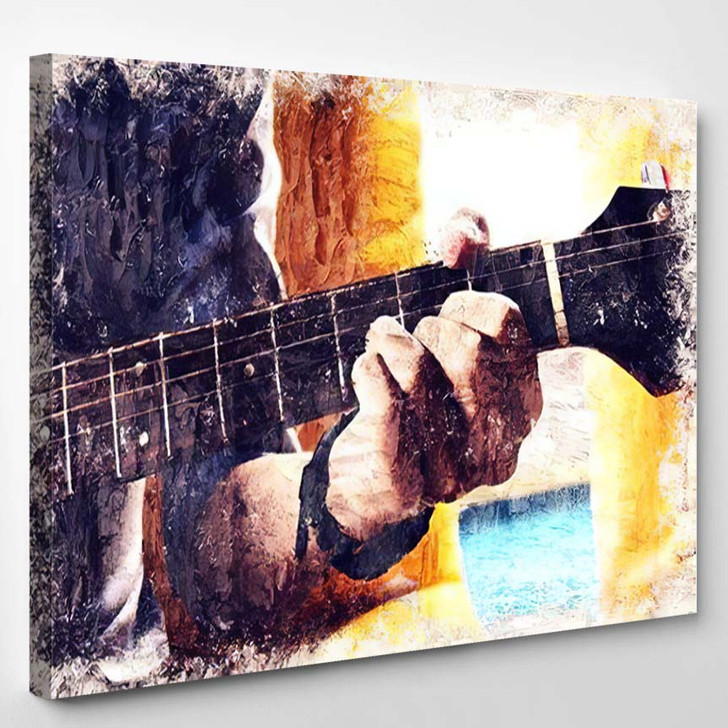 Abstract Beautiful Man Playing Guitar Foreground - Drum Music Canvas Art Print