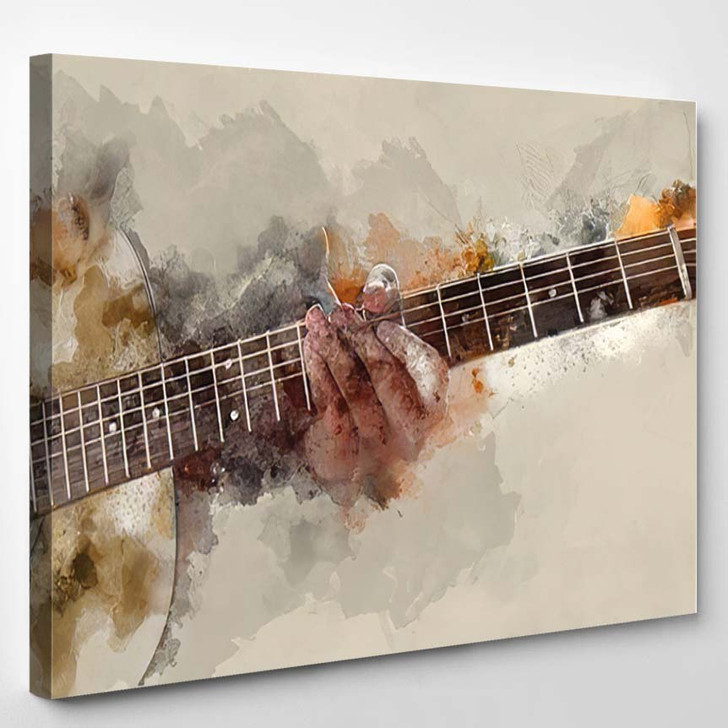 Abstract Guitarist Foreground Close Watercolor Paint - Drum Music Canvas Art Print