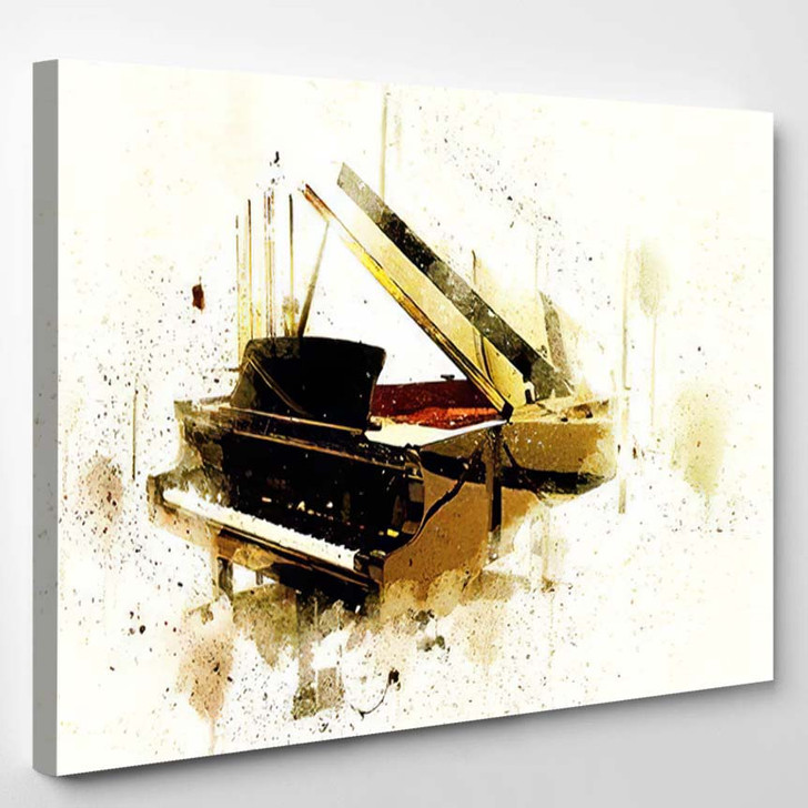 Abstract Keyboard Piano Foreground Watercolor Painting - Drum Music Canvas Art Print