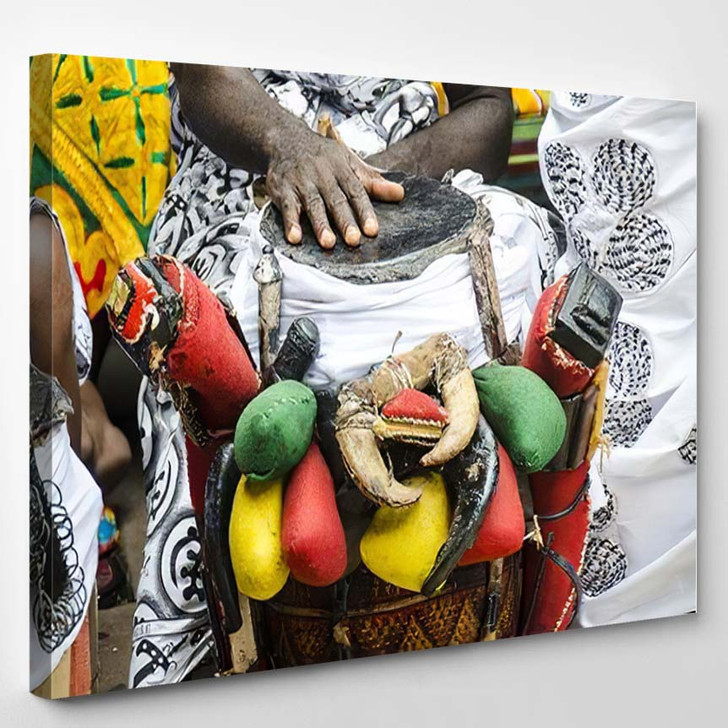 African Man Playing On Traditional Colorful - Drum Music Canvas Art Print