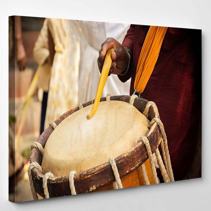 Close Hands Performing Indian Art Form - Drum Music Canvas Art Print