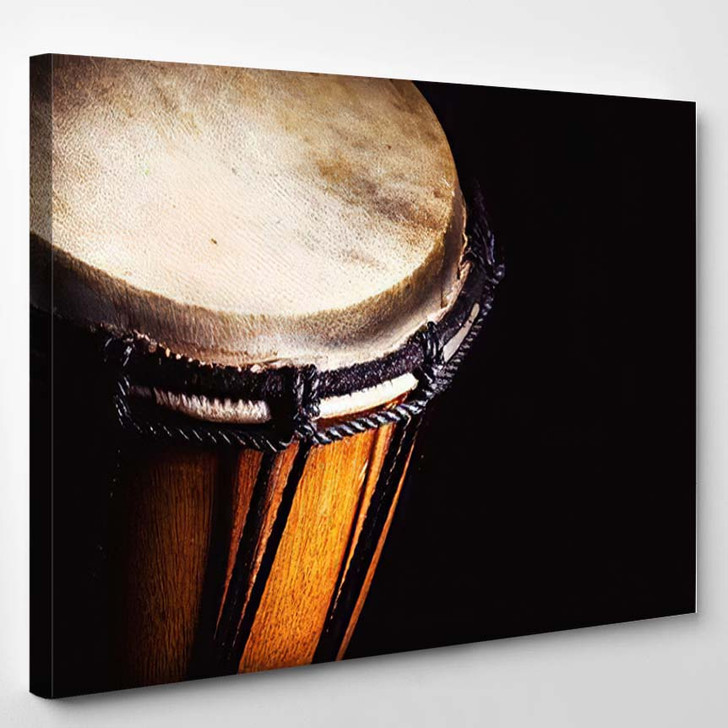 Closeup View Wooden Djembe Accentuated Shapes - Drum Music Canvas Art Print
