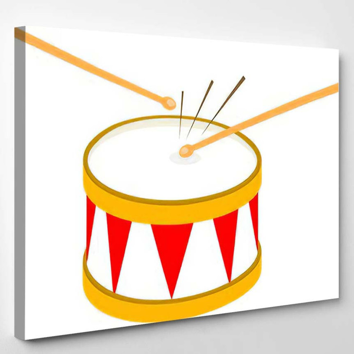 Drum Red White Isolated On Background - Drum Music Canvas Art Print