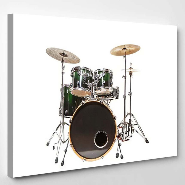 Drum Set Green Color Stands On - Drum Music Canvas Art Print