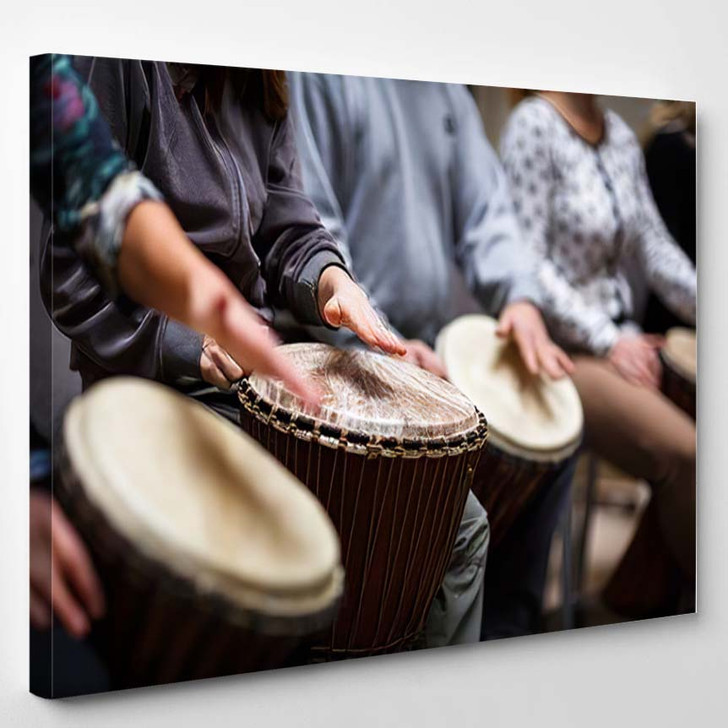 Group People Playing On Drums Therapy - Drum Music Canvas Art Print